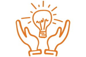 Drawing of a Lightbulb in hands